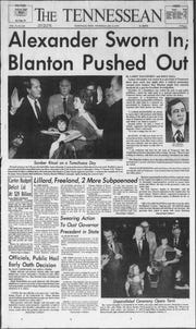 The front page of The Tennessean on Jan. 18, 1979, the day after Gov. Lamar Alexander was sworn into office.