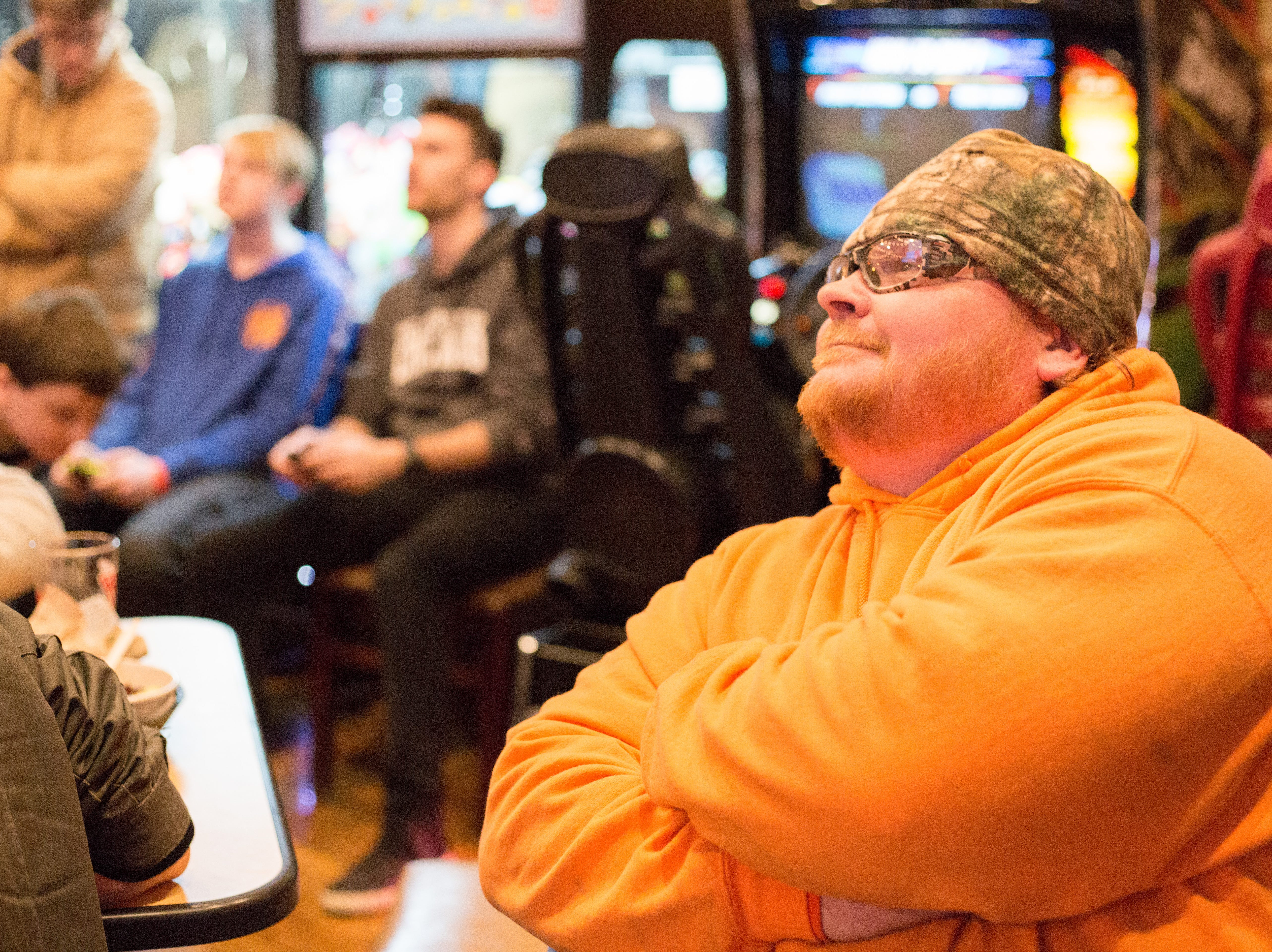Chuck Williams enjoys watching the Super Smash Brothers Ultimate Tournament presented by Big Dad Games at Filly's Game and Grill in Gallatin on Monday, Jan 14.