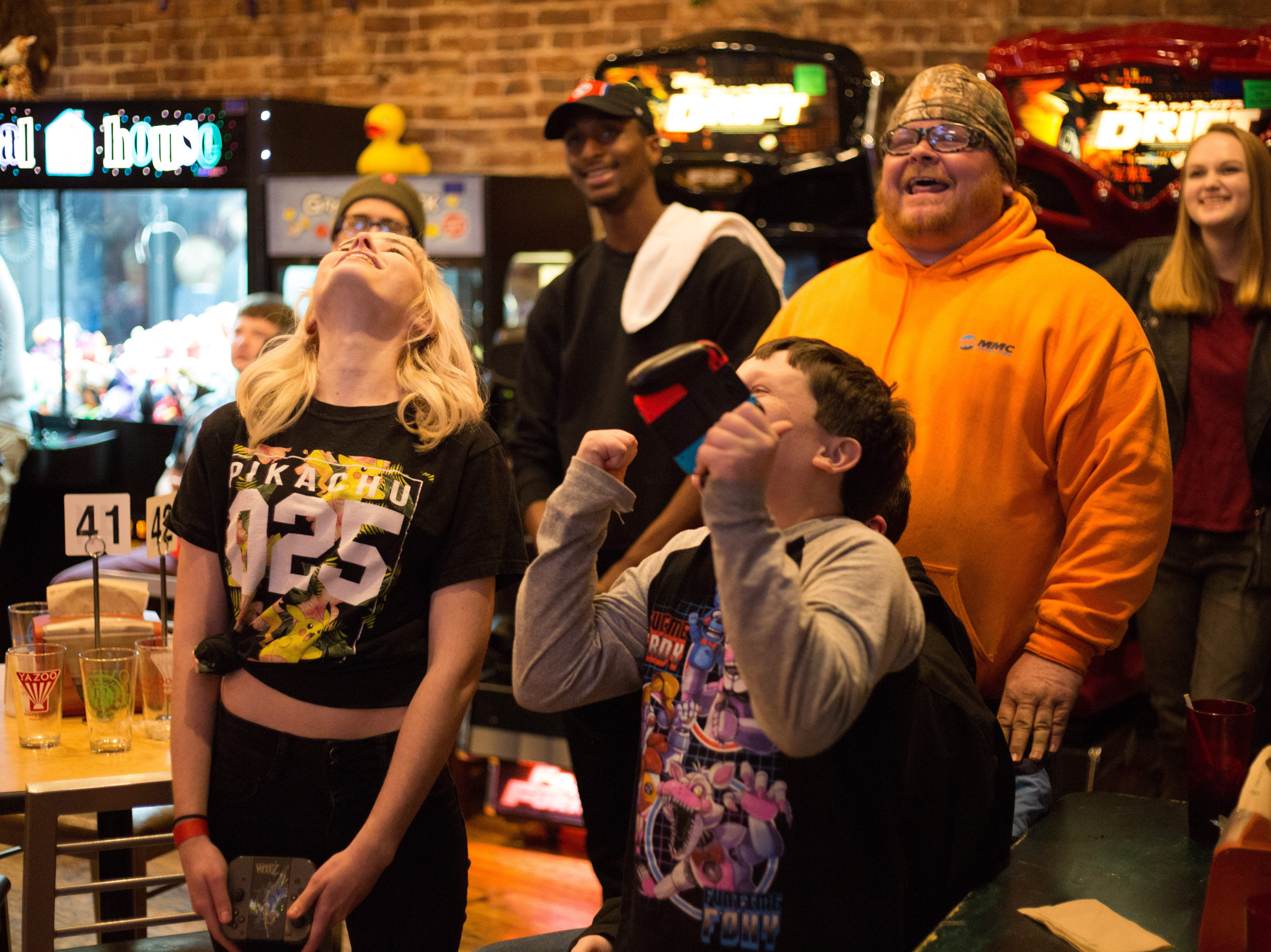 Morgan and Lucas compete during a Super Smash Brothers Ultimate Tournament presented by Big Dad Games at Filly's Game and Grill in Gallatin on Monday, Jan 14.
