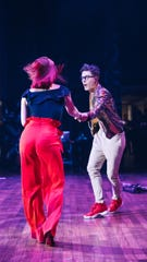 Bobby Bones and Sharna Burgess dance  during his Million Dollar Show at Ryman Auditorium.