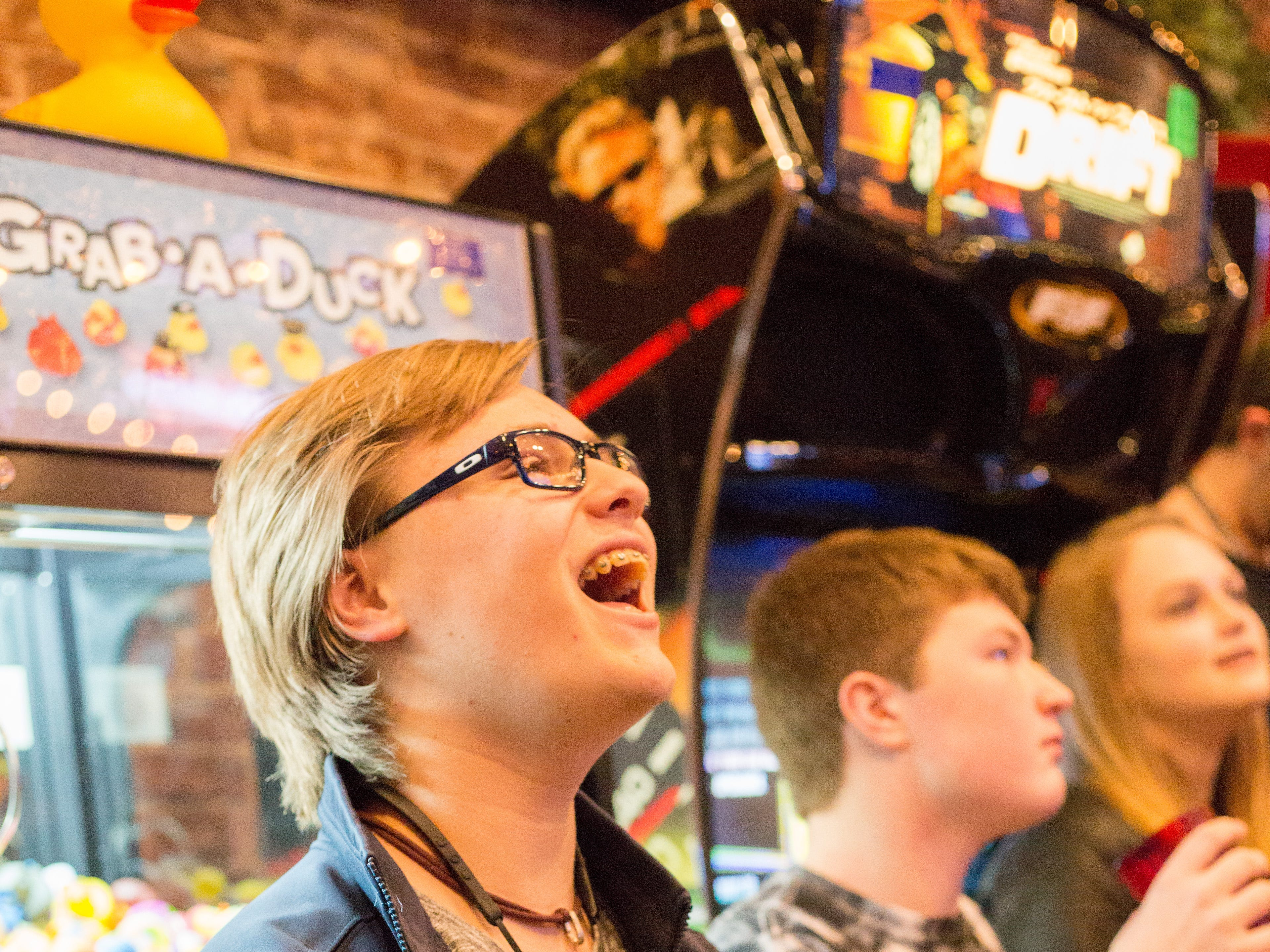 Isaac Morrison has a blast during a Super Smash Brothers Ultimate Tournament presented by Big Dad Games at Filly's Game and Grill in Gallatin on Monday, Jan 14.