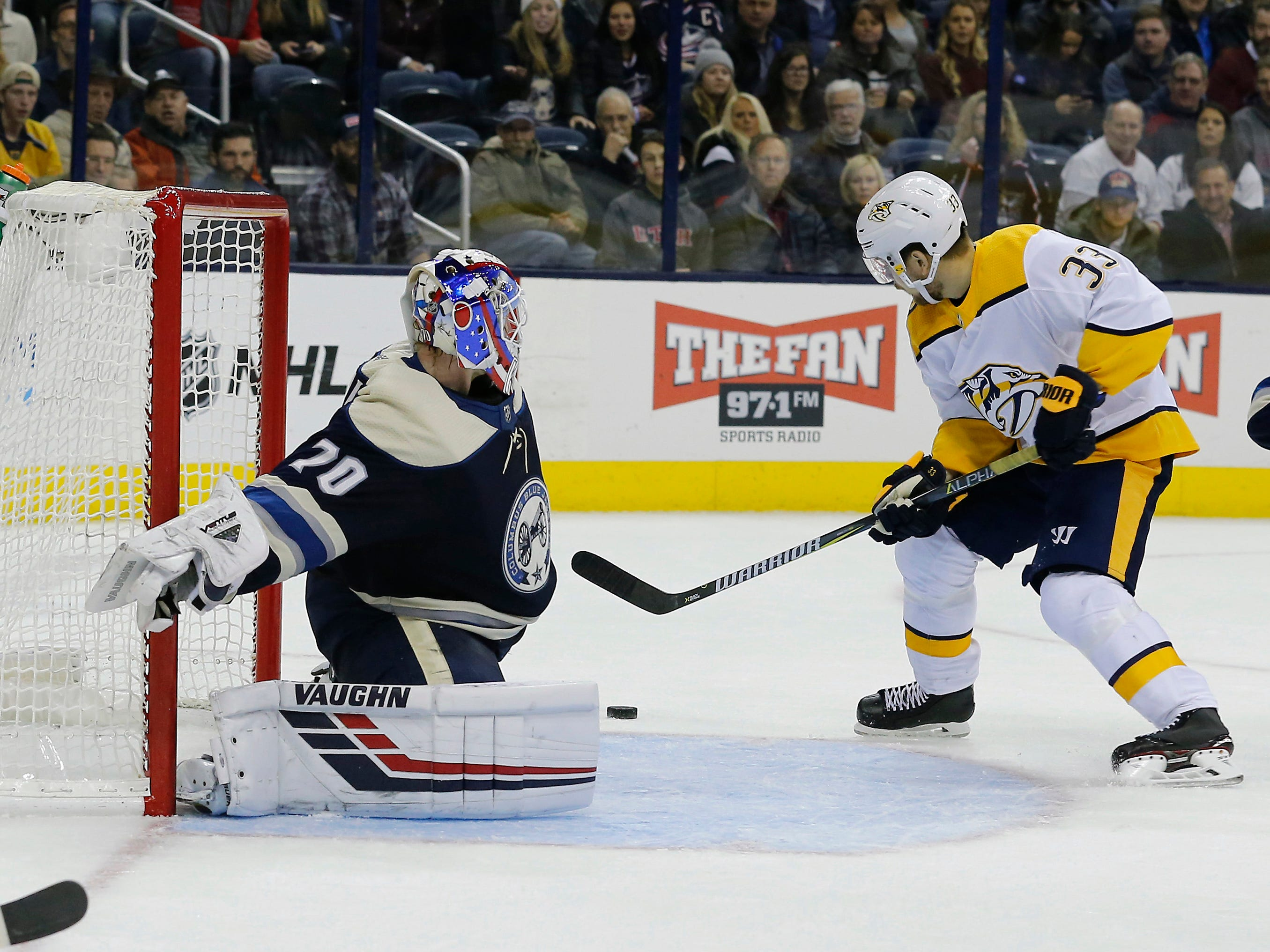 Jan 10, 2019: Blue Jackets 4, Predators 3 (OT) -- Nashville Predators right wing Viktor Arvidsson (33) scores on the rebound of a Columbus Blue Jackets goalie Joonas Korpisalo (70) save during the third period at Nationwide Arena.