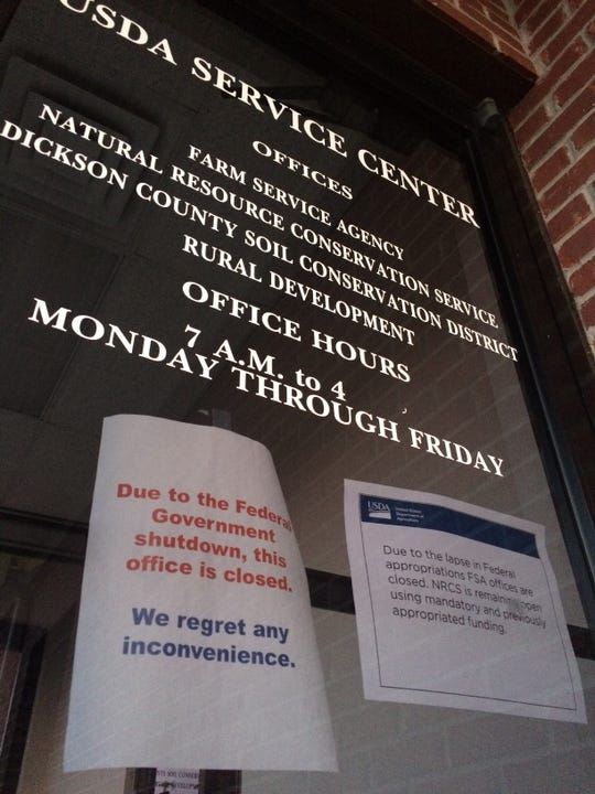 The front door to the USDA Service Center office in Dickson.