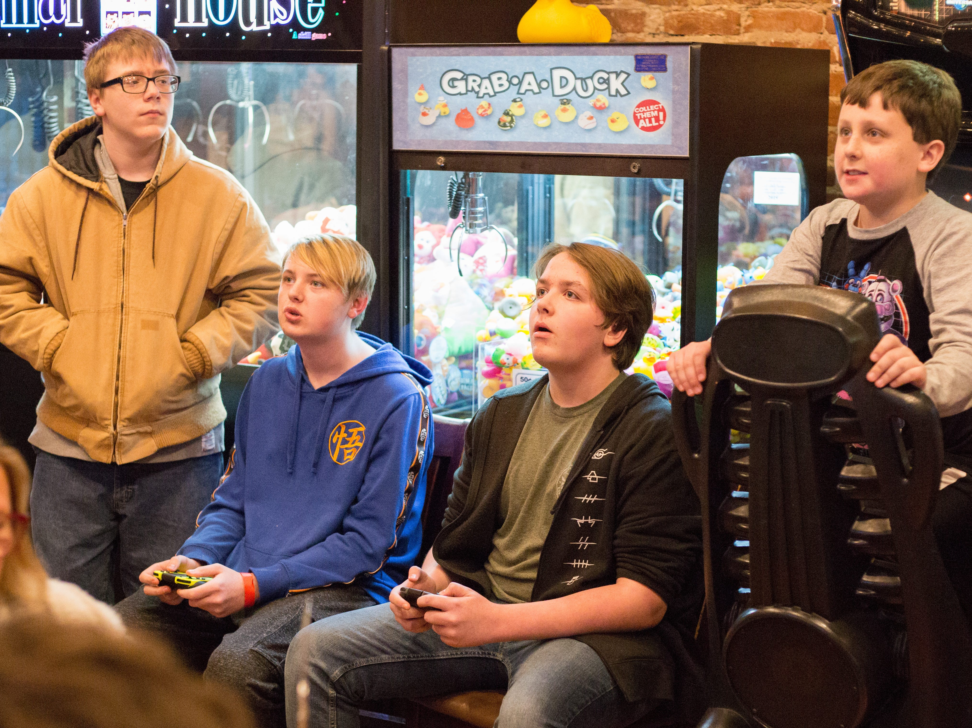 Players compete during a Super Smash Brothers Ultimate Tournament presented by Big Dad Games at Filly's Game and Grill in Gallatin on Monday, Jan 14.