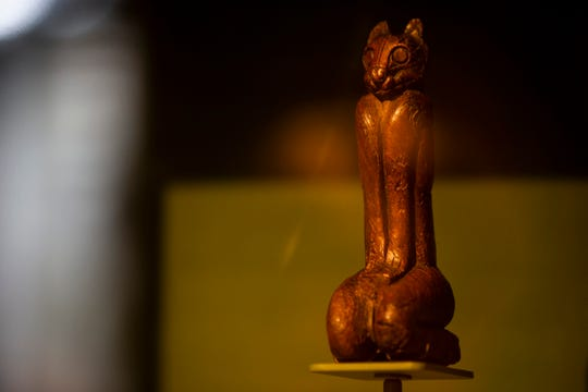 The Key Marco Cat, which was found during an archeological dig in 1896 and has spent the decades since in exhibits across the country, sits on display at the Marco Island Historical Museum on Marco Island on Tuesday, Jan. 15, 2019. The museum was built in the hopes of housing the Key Marco Cat, which is a source of pride for many Marco Island residents.