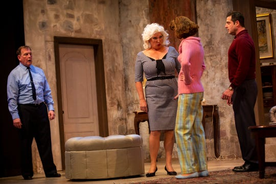 "From left to right, Brett Marston, Lori Grandon, Rachel Ewy and James Duggan  are ready for a confrontation in The Naples Players production of ""Don't Dress for Dinner"" at Sugden Community Theatre in Naples during dress rehearsal on Monday, January 14, 2019."