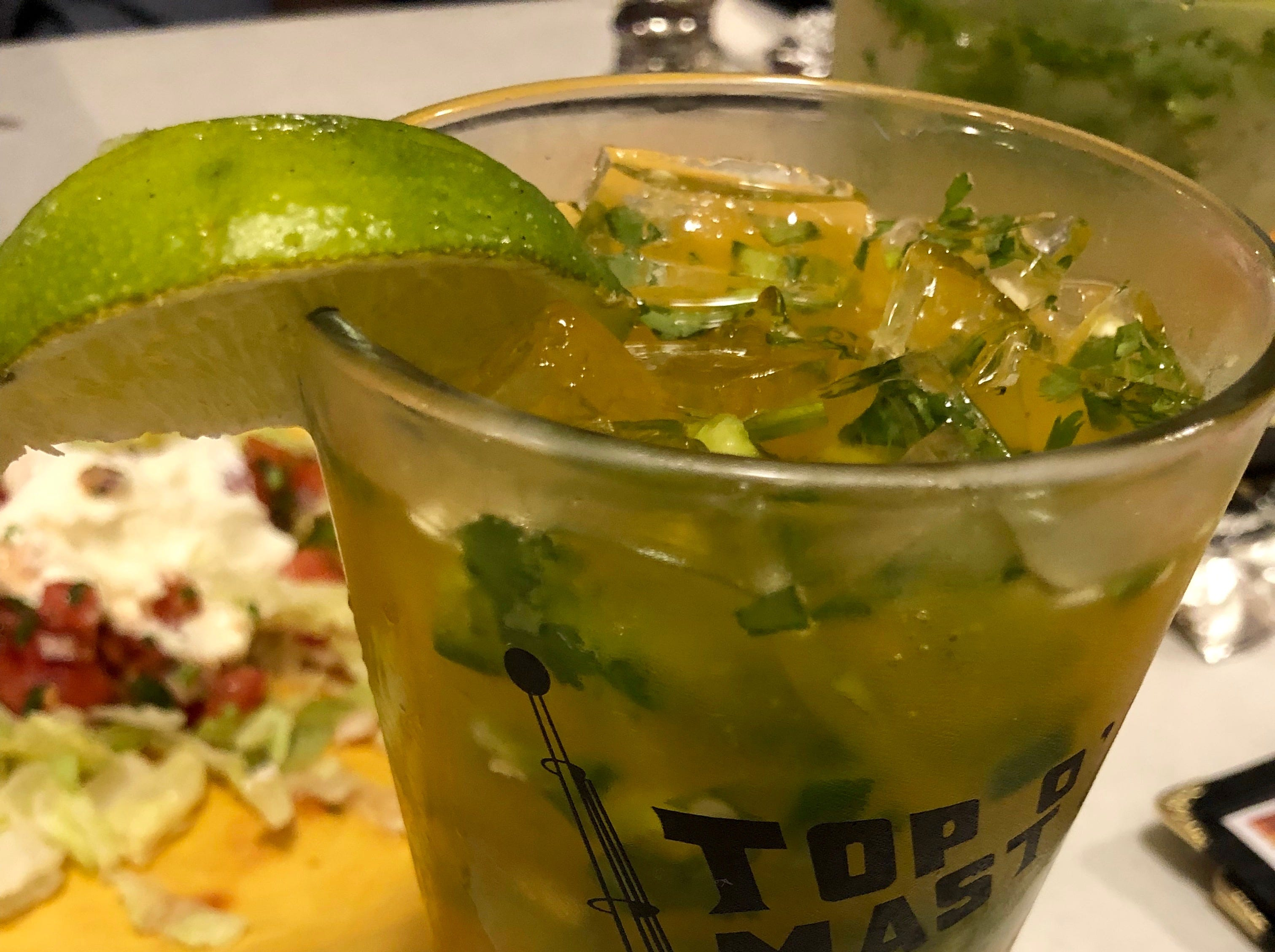 La Bamba's cilantro-jalapeno-mango margarita that's mildly fruity, with a little spicy kick.