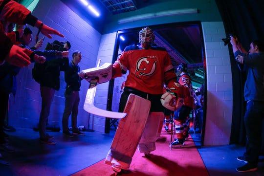 Jan 14, 2019; Newark, NJ, USA; New Jersey Devils goaltender Mackenzie Blackwood (29) walks to the ice before the start of their game against the Chicago Blackhawks at Prudential Center.