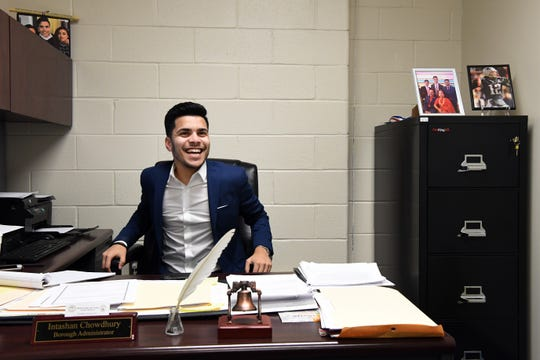 Prospect Park Borough Administrator Intashan Chowdhury, 22, believed to be the youngest town manager in New Jersey, in his office on Jan. 15.