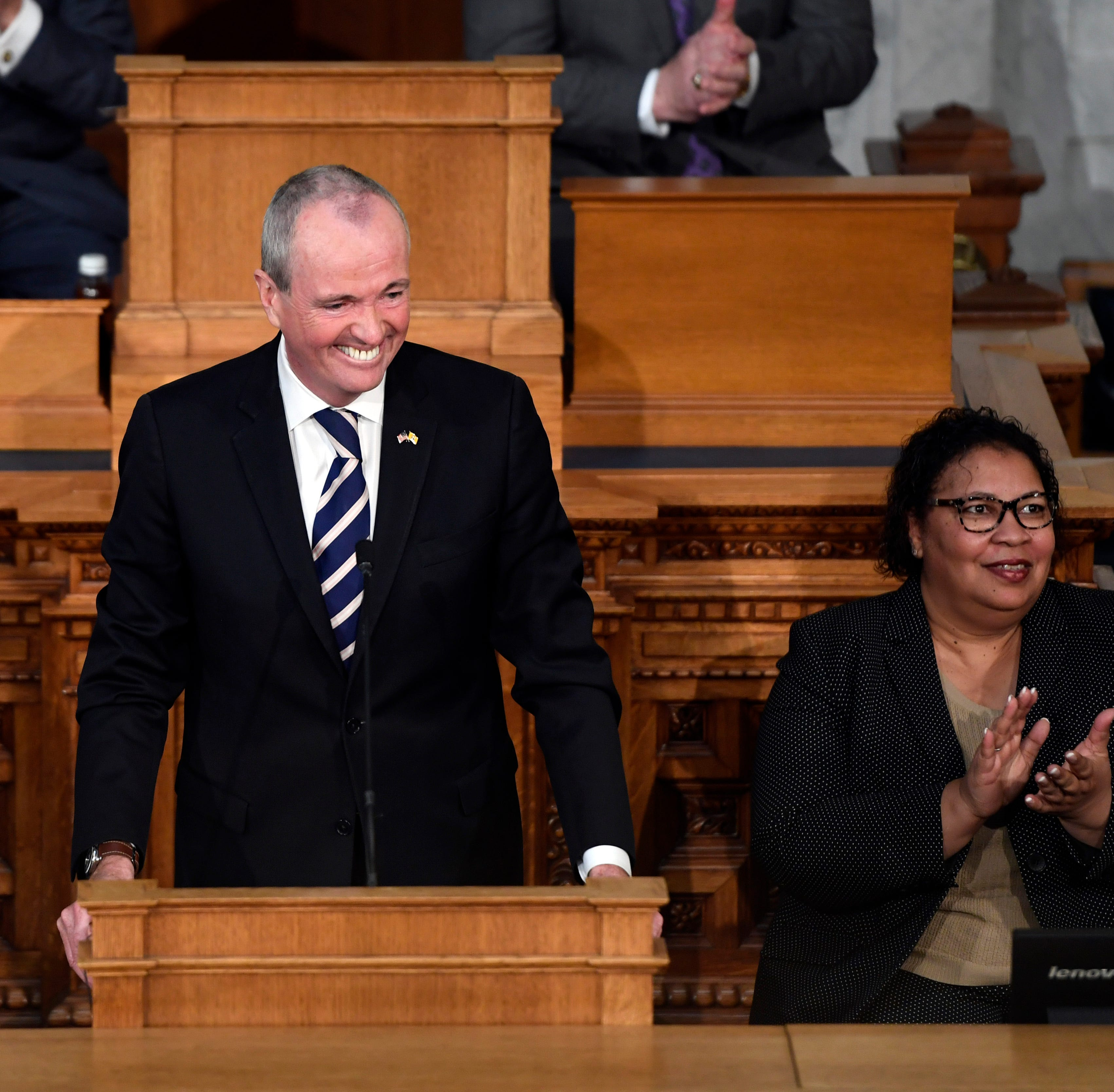 New Jersey Governor Phil Murphy delivers the State of the State address on Tuesday, Jan. 15, 2019, in Trenton.