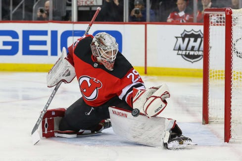 Jan 14, 2019; Newark, NJ, USA; New Jersey Devils goaltender Mackenzie Blackwood (29) makes a save during the first period of their game against the Chicago Blackhawks at Prudential Center.