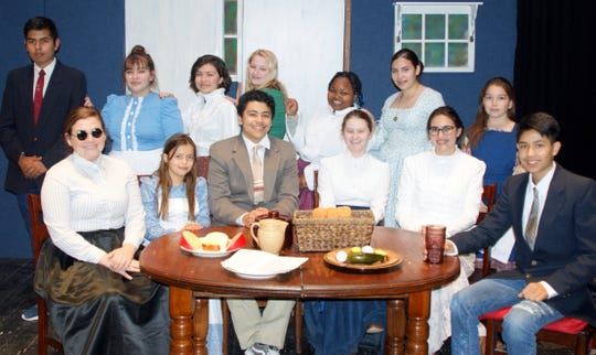 """The cast for the weekend production of """"The Miracle Wrker"""" includes, standing from left, Javier Rodriguez, Alizae Acosta, Sadie Holguin, Grace Jackson, Nadifo Ibrahim, Mariana Molina and Olea Ortiz. Seated from left are Taylor Benavidez, Carlie Maynes, Jonathan Pacheco, Morgan Richins, Shannah Rudiger and Kevin Martinez."""