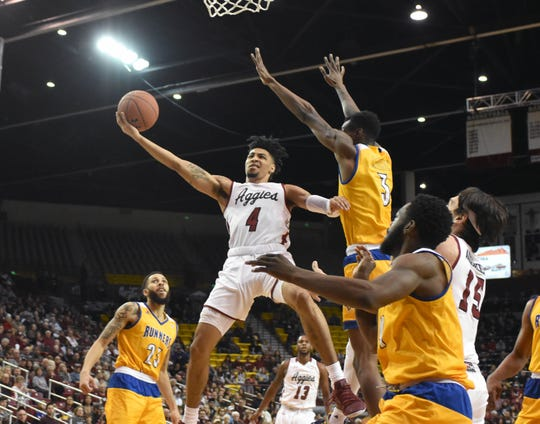 New Mexico State's JoJo Zamora and the Aggies return to WAC action this weekend at Seattle and Utah Valley.