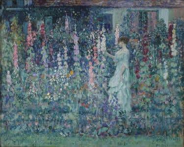 """""""Hollyhocks"""" by artist Frederick Carl Frieseke painted in 1912."""