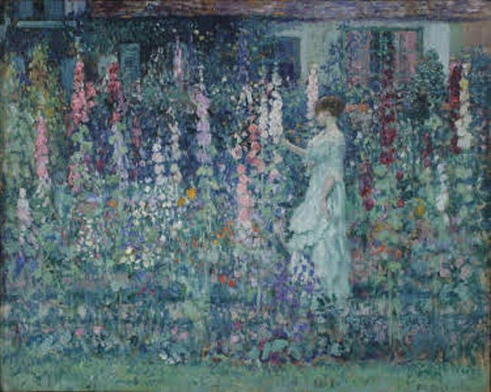 """Hollyhocks"" by artist Frederick Carl Frieseke painted in 1912."