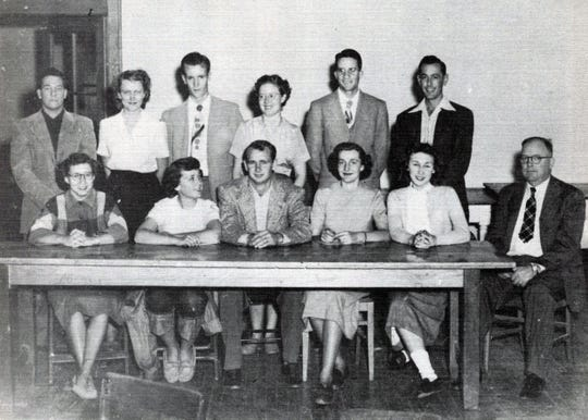 Western New Mexico University alumnus, former regent and honorary degree holder David Darling is pictured front row center with fellow student government participants in 1951. Darling, who died this week, will be remembered with a service on campus Monday, January 21.