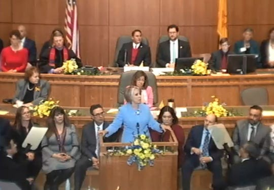 Gov. Michelle Lujan Grisham addresses the House of Representatives and Senate of New Mexico Jan. 15 in Santa Fe.