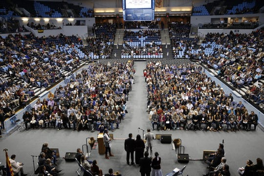 The Bee Hółdzil Fighting Scouts Events Center in Fort Defiance, Ariz. was filled to near capacity during the inauguration on Tuesday.