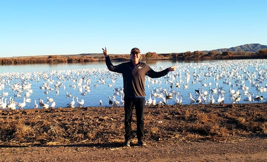 Rich Dozier at the the Festival of the Cranes at Bosque del Apache National Wildlife Refuge outside of San Antonio.