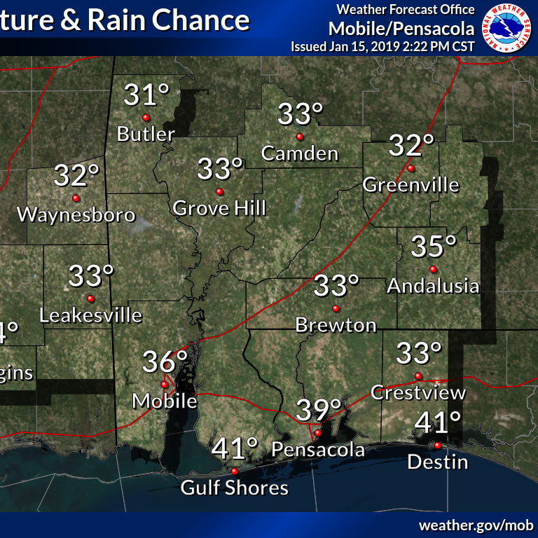 Pensacola to see high chance of rain, a cold front over the weekend