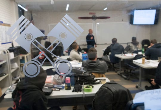 Instructor Bill Davis teaches a class in power plants Jan. 15 at George Stone Technical College's aviation maintenance program.