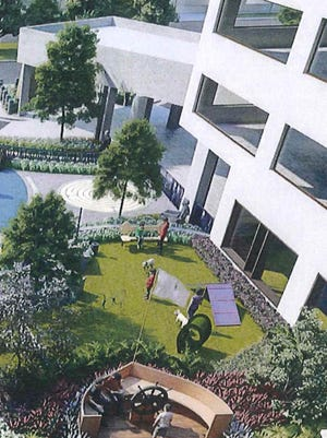 A rendering of the new dog park at Sacred Heart Hospital in Pensacola, which hospital officials say will speed up patient care and make the medical center a more livable space for its long-term patients.