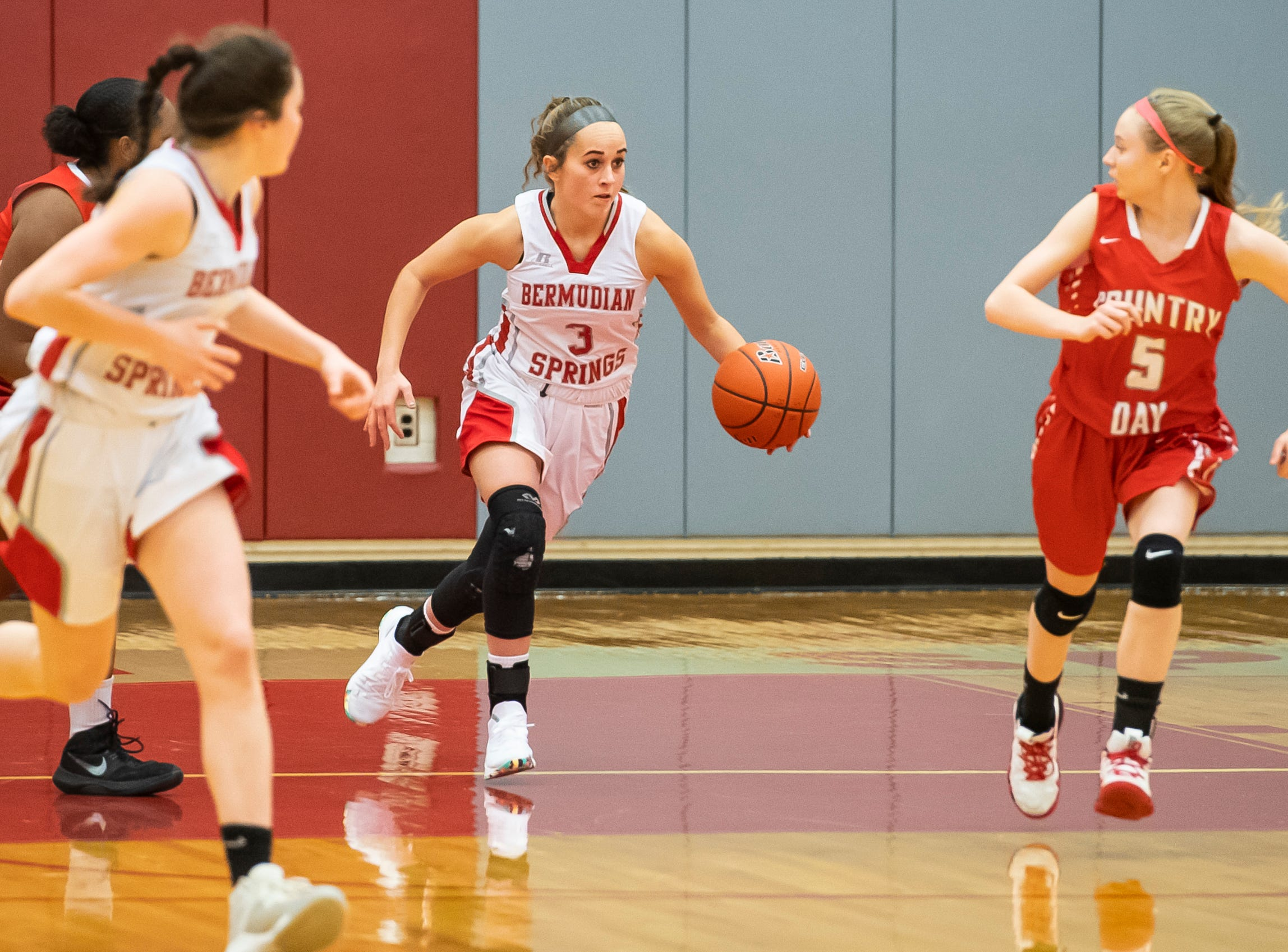 Bermudian Springs' Skyler West dribbles down the court during play against York Country Day School at Bermudian Springs High School on Monday, January 14, 2019. The Eagles won 59-20.