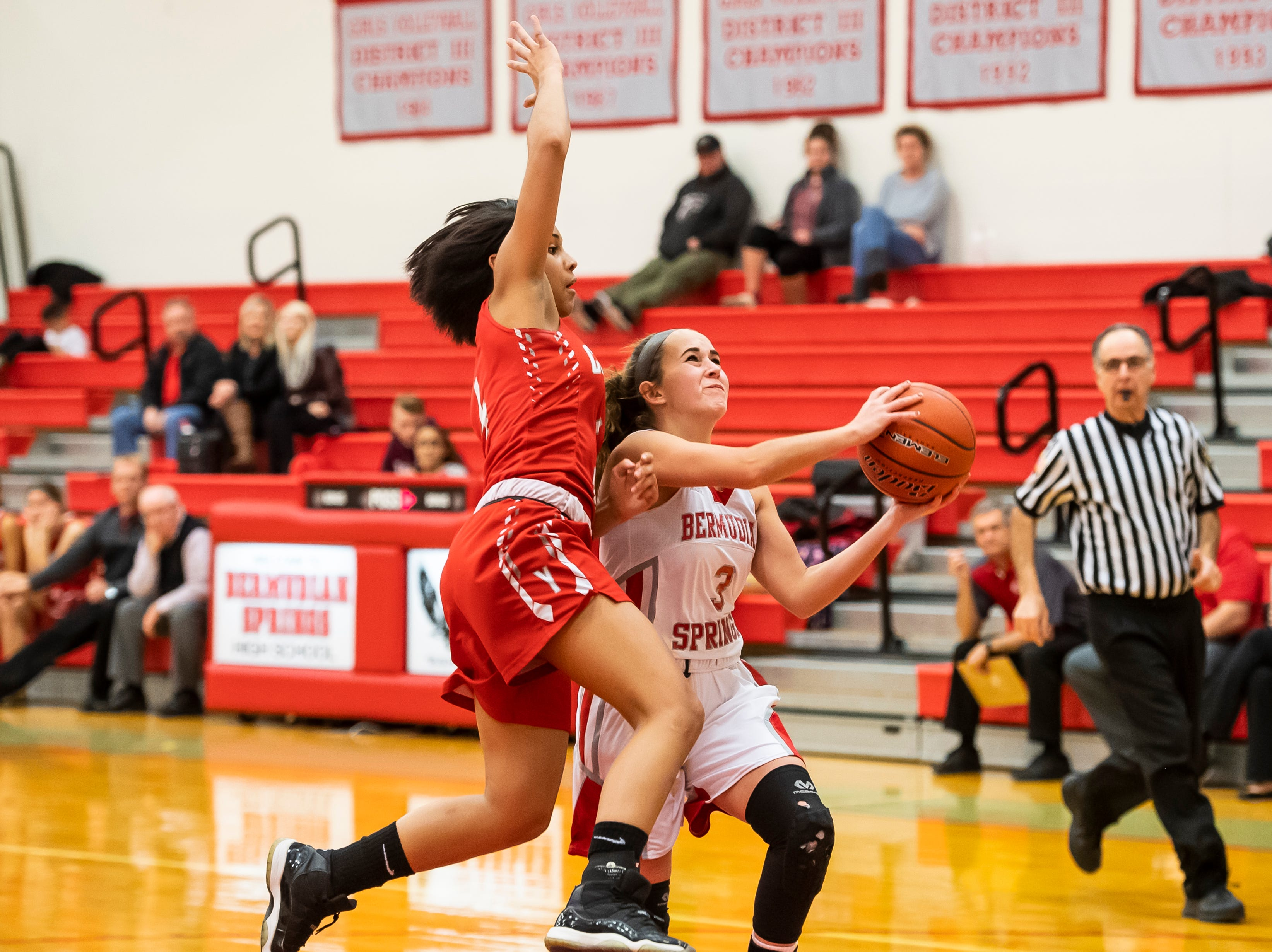 Bermudian Springs' Skyler West is fouled by York Country Day School's Infinity Morris while attempting a layup at Bermudian Springs High School on Monday, January 14, 2019. The Eagles won 59-20.