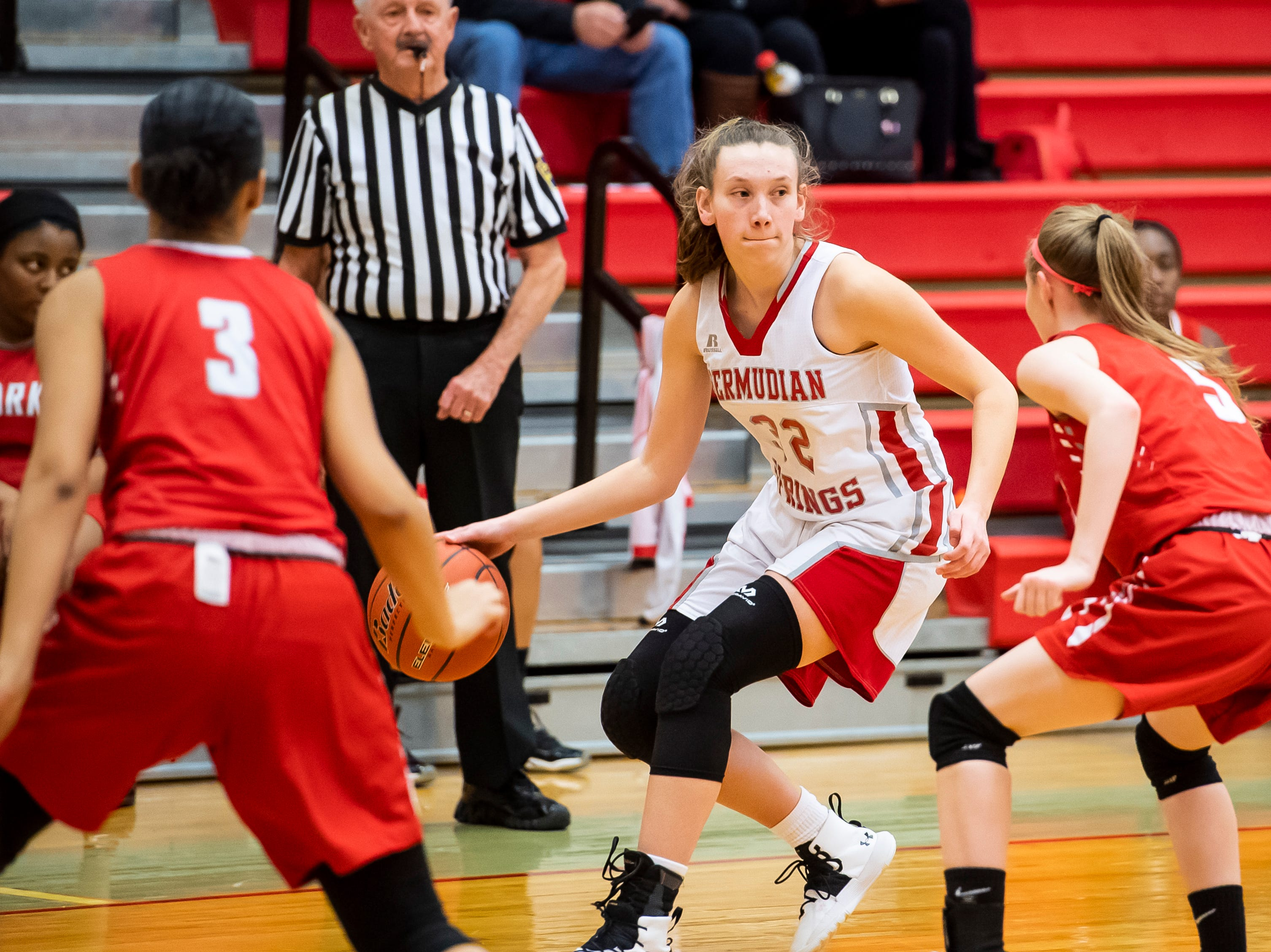 Bermudian Springs' Arden Bealmear (32) dribbles the ball during play play against York Country Day School at Bermudian Springs High School on Monday, January 14, 2019. The Eagles won 59-20.