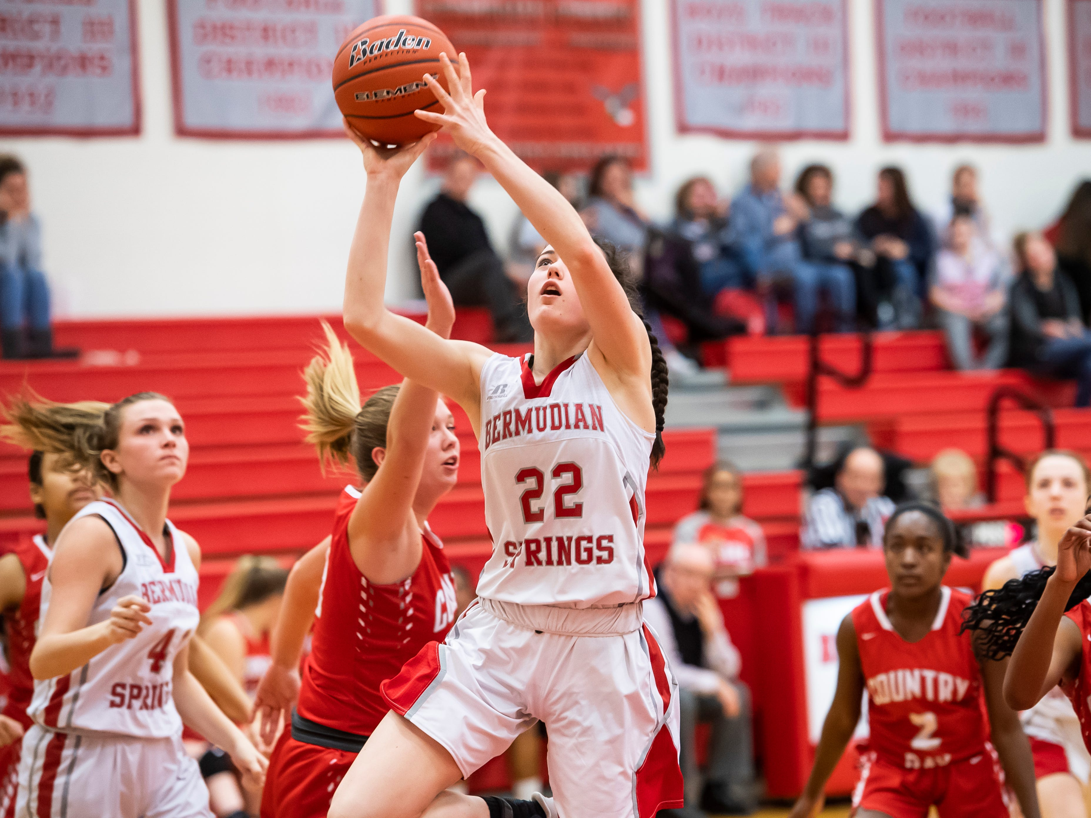 Bermudian Springs' Lilian Peters scores on a layup during play against York Country Day School at Bermudian Springs High School on Monday, January 14, 2019. The Eagles won 59-20.