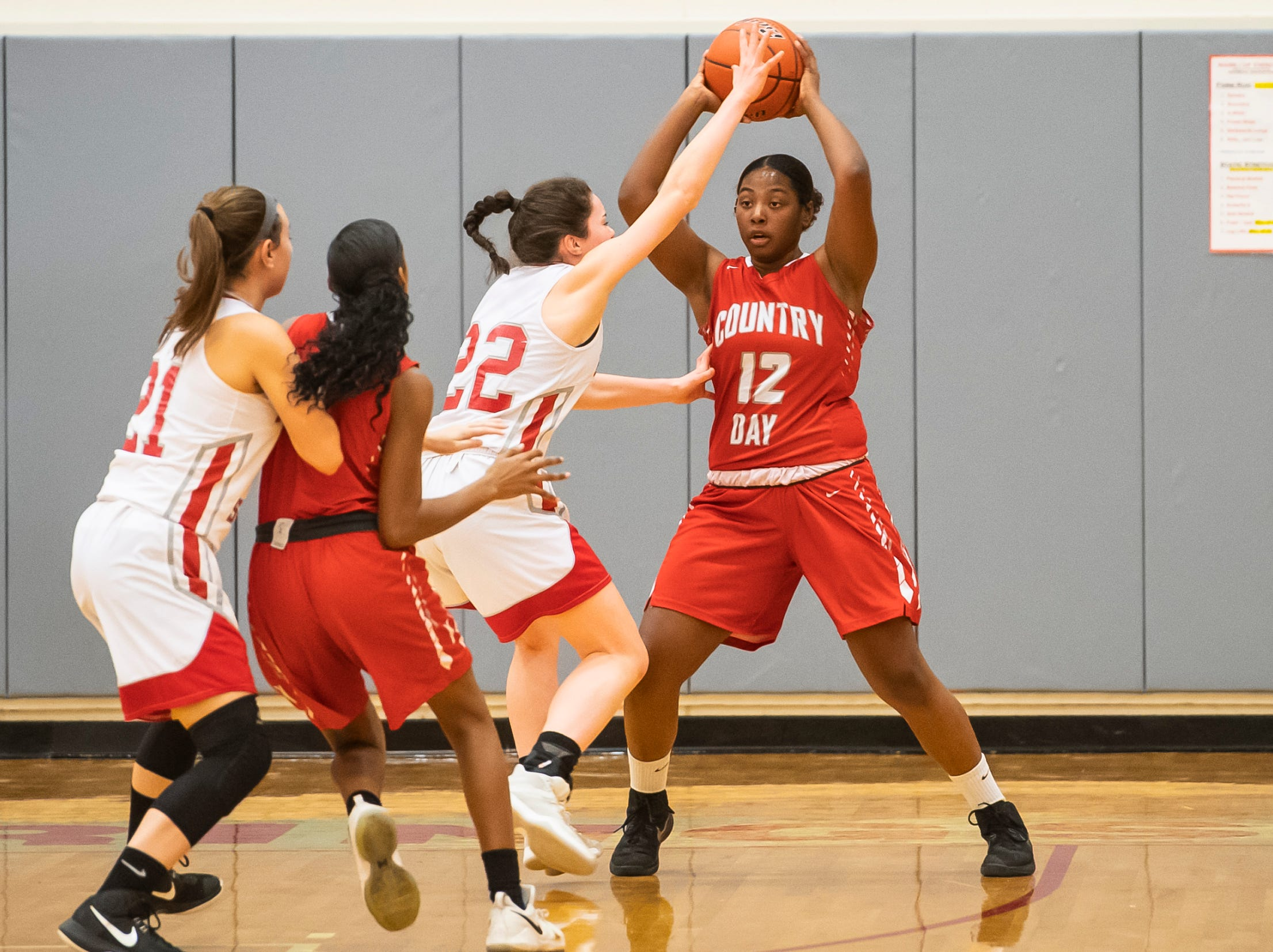 York Country Day School's Ze'Yonie Hawkins (12) looks to pass the ball while being guarded by Bermudian Springs' Lilian Peters (22) at Bermudian Springs High School on Monday, January 14, 2019. The Eagles won 59-20.