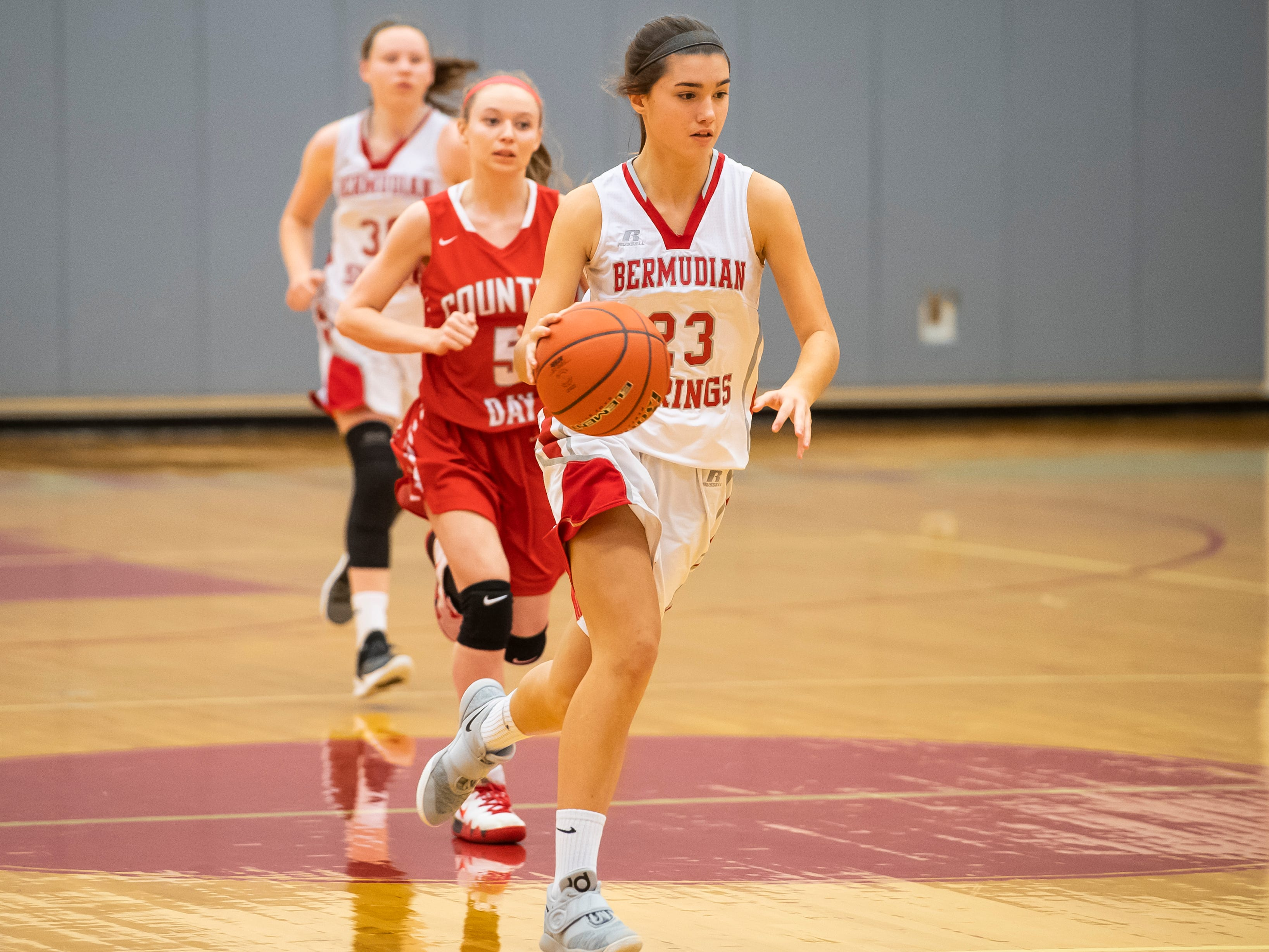 Bermudian Springs' Bailey Oehmig dribbles down the court during play against York Country Day School at Bermudian Springs High School on Monday, January 14, 2019. The Eagles won 59-20.