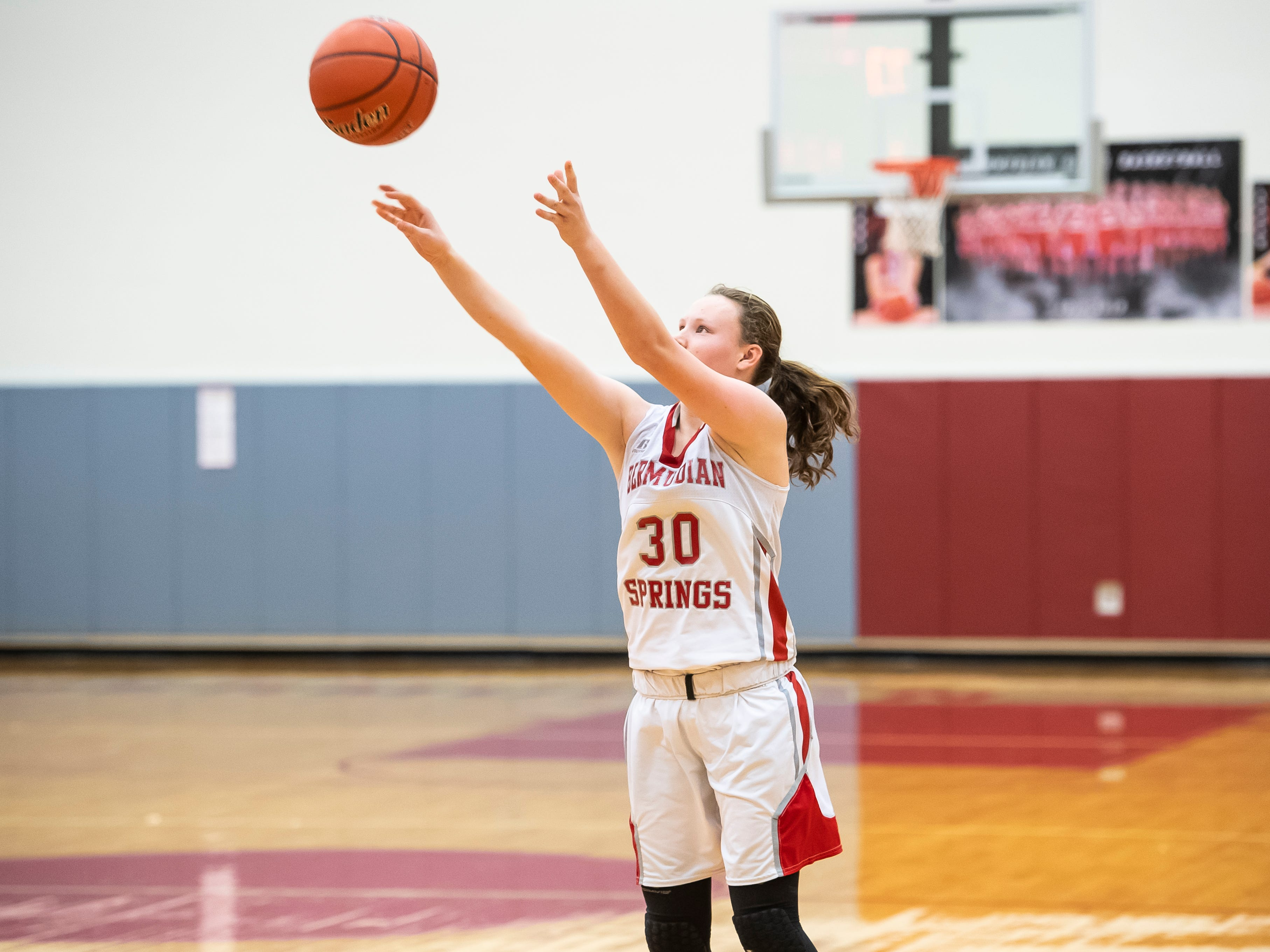 Bermudian Springs' Hanna Chenault drains a 3-pointer during play against York Country Day School at Bermudian Springs High School on Monday, January 14, 2019. The Eagles won 59-20.