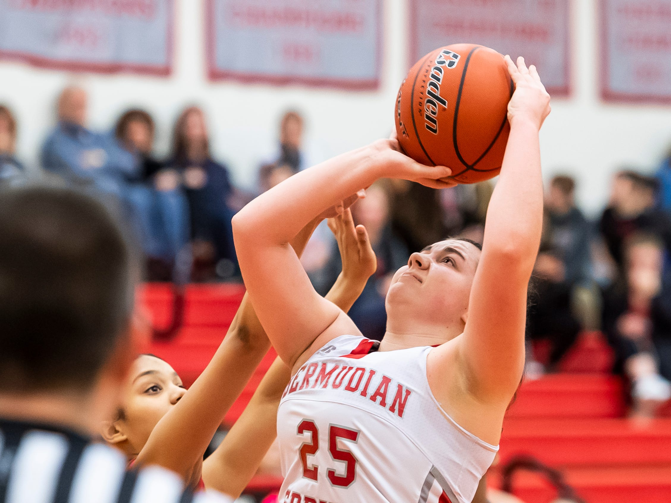 Bermudian Springs' Emily Shearer shoots and scores on a layup during play against York Country Day School at Bermudian Springs High School on Monday, January 14, 2019. The Eagles won 59-20.