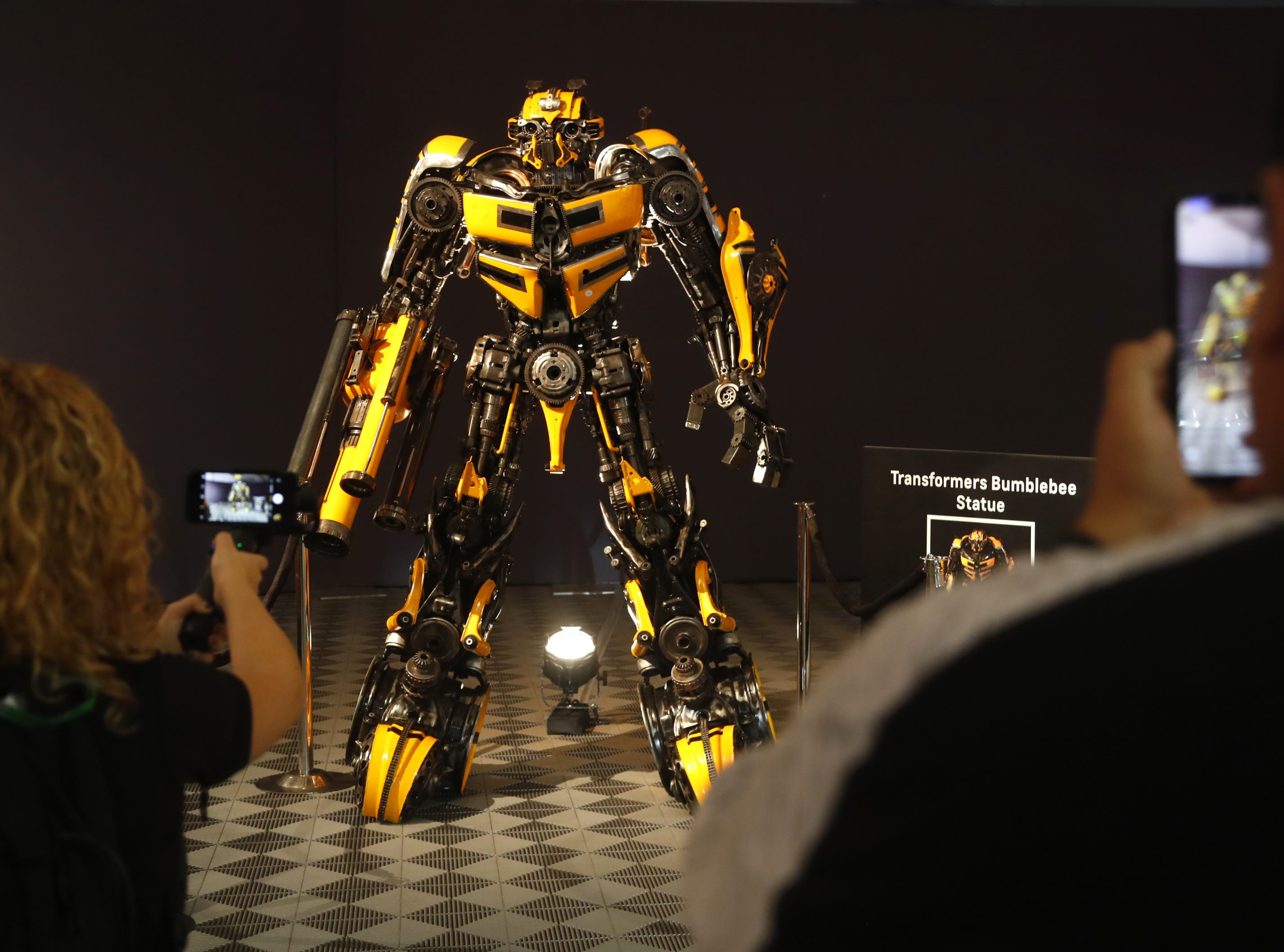 Chevrolet's Transformer character Bubblebee has its picture taken at the Barrett-Jackson Car Auction in WestWorld in Scottsdale on Jan. 14, 2019.