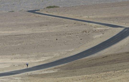 Running through Death Valley during the Badwater 135 ultramarathon.
