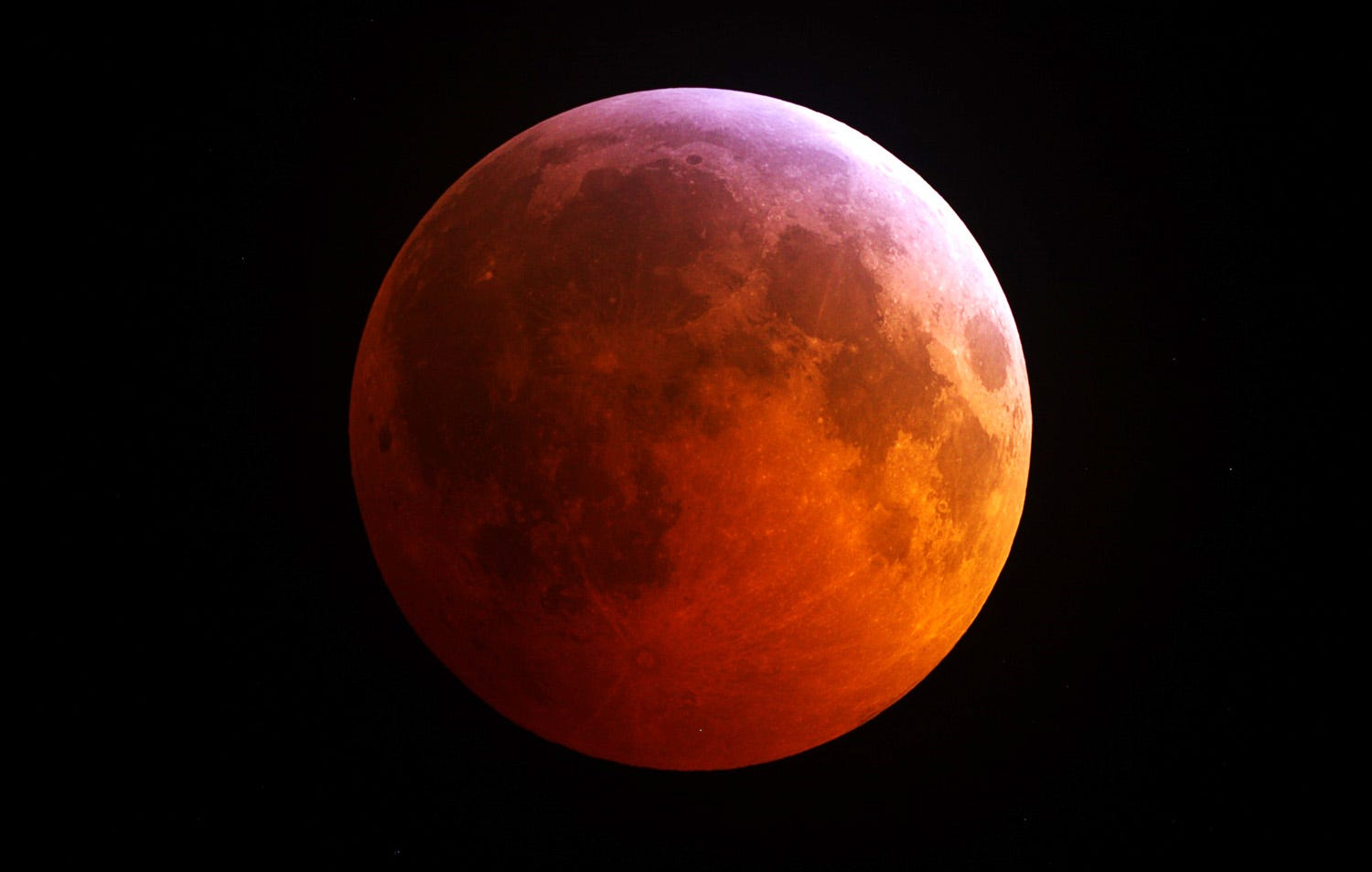 Total lunar eclipse on April 15, 2014 as seen from the Mount Lemmon SkyCenter near Tucson, Arizona.