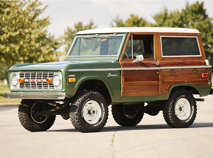This 1974 Ford Bronco Custom Woody will be auctioned off at Barrett-Jackson in Scottsdale on Wednesday.