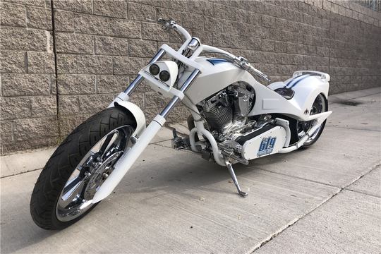 This 2011 Orange County Choppers Custom Motorcycle will be auctioned off at Barrett-Jackson in Scottsdale on Wednesday.