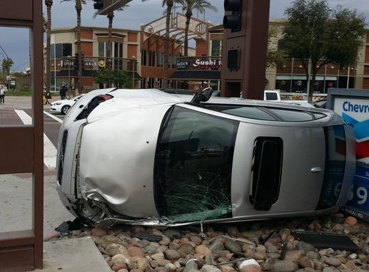 A serious traffic crash involving a Tempe police vehicle near Arizona State University's main campus forced closure of a major Tempe intersection Tuesday afternoon, police and fire officials said.