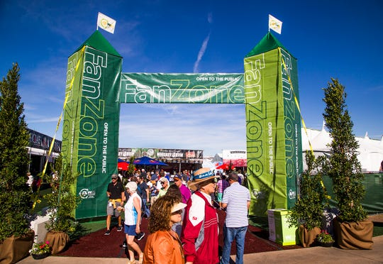 Fans gather at the Fan Zone at the Waste Management Phoenix Open at TPC Scottsdale.