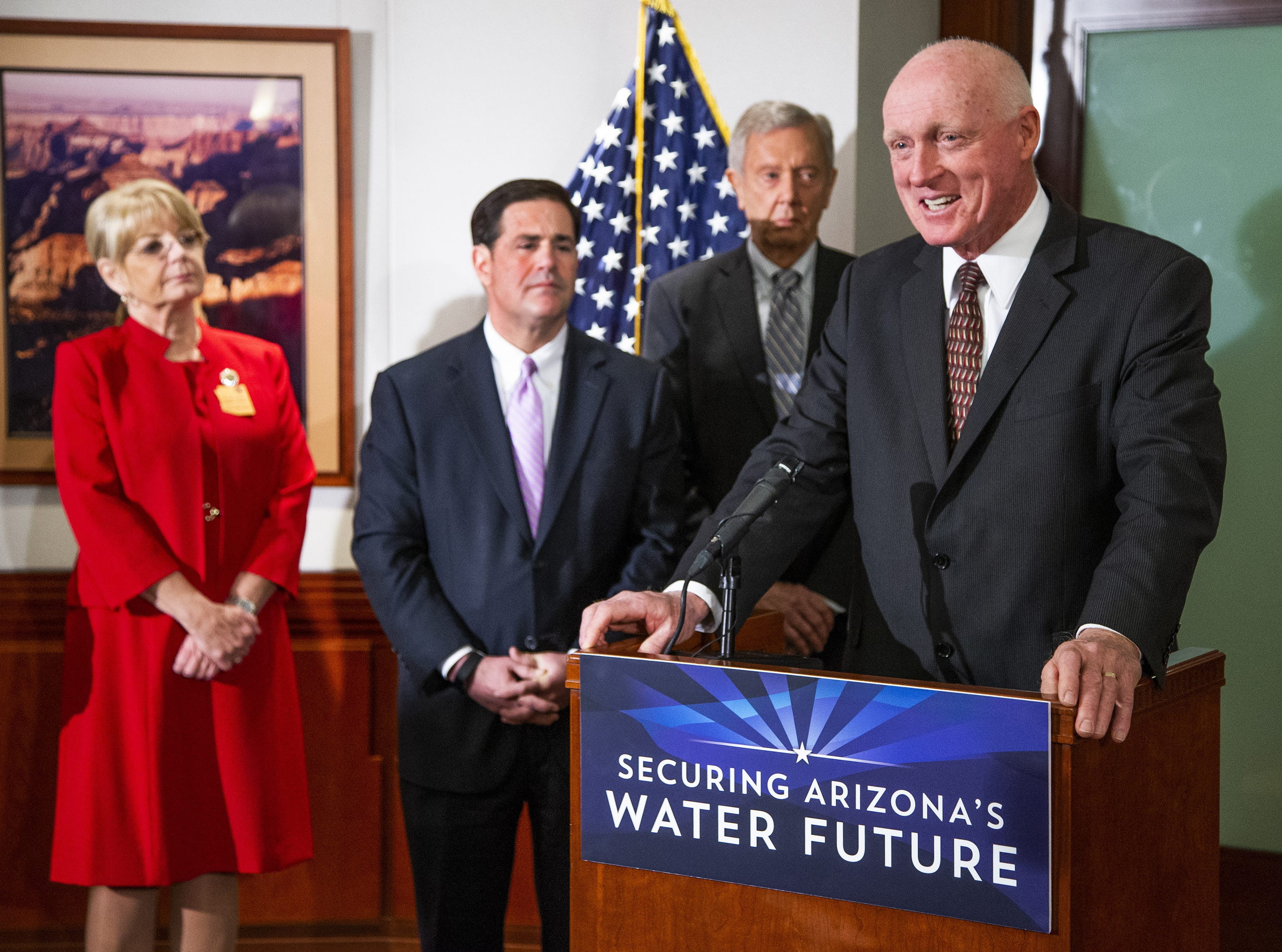 House Speaker Rusty Bowers (right) speaks at a press conference at the Arizona Capitol with government leaders to discuss water use, Jan. 15, 2019. Also in attendance (from left to right) Senate President Karen Fann, Gov. Doug Ducey, and former Gov. Bruce Babbitt.