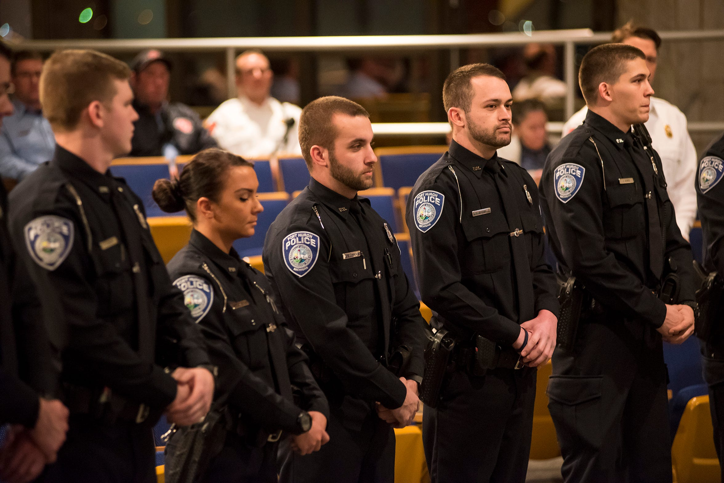 Several new Port Huron Police recruits stand while being introduced at a City Council meeting on Monday, Jan. 14, 2019.