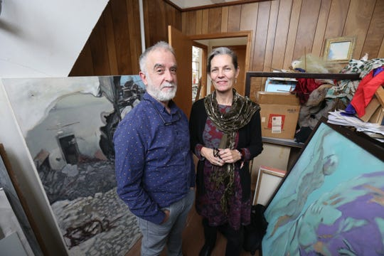 Andres and Marguerite San Millan among their oil paintings at their studio in the City of Poughkeepsie on January 8, 2019. The pair founded Cocoon Theatre in 1987 and have long running careers in fine and performing arts.