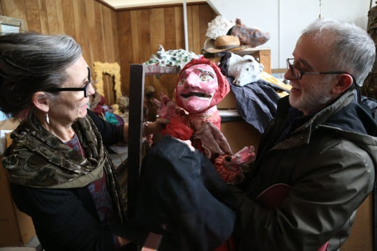 Andres and Marguerite San Millan pull out  old puppets at their studio in the City of Poughkeepsie on January 8, 2019. The pair founded Cocoon Theatre in 1987 and have  long running careers in fine & performing arts.