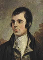 Robert Burns is depicted in this painting by Alexander Nasmyth. A Scottish bard, Burns went about reciting sometimes ribald stories through poetry and folk songs. His birthday is celebrated with traditional Scottish food and festivities.