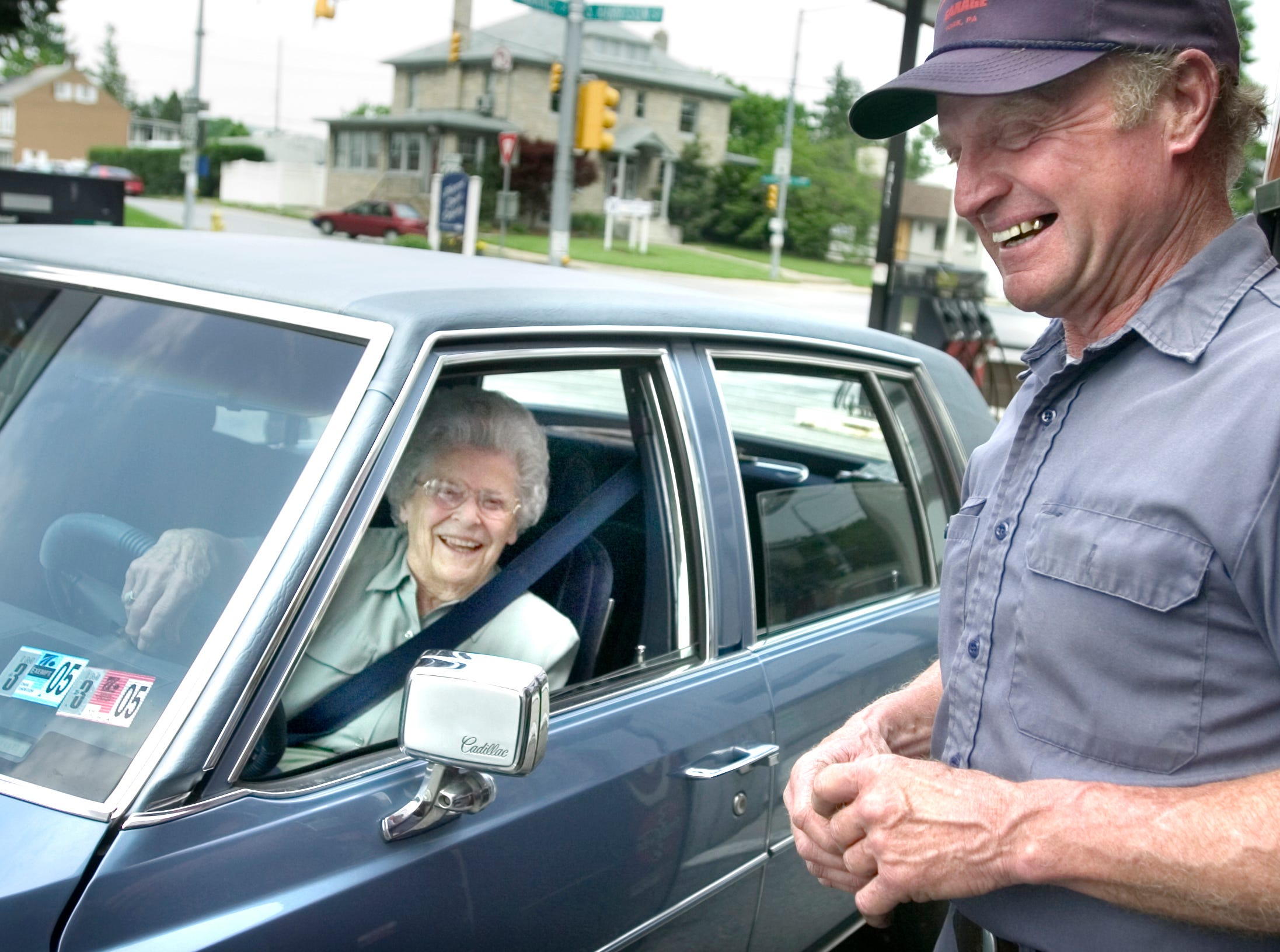Lynn Haines' mother, Alva, stops by the Lincoln Highway Garage's pumps on May 11 2004.