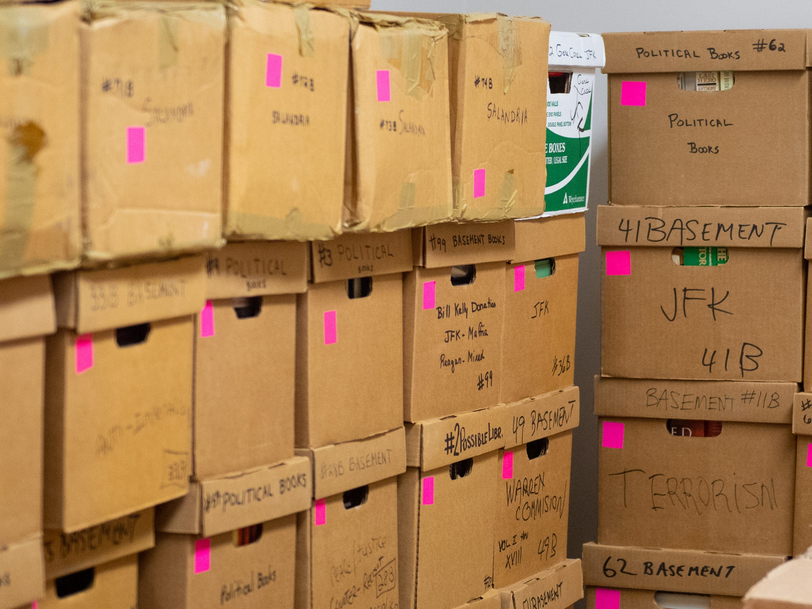 It took around 800 boxes to transport all of the materials that John Judge had in his house to the museum's new location, January 12, 2019.