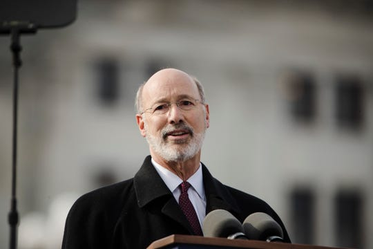 Pennsylvania Gov. Tom Wolf speaks after he was sworn in for his second term, Tuesday, Jan. 15, 2019, at the state Capitol in Harrisburg, Pa. (AP Photo/Matt Rourke)