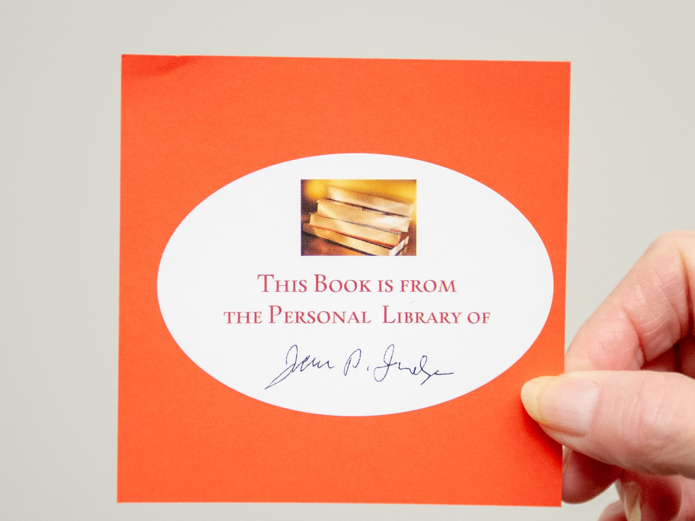 Anyone that buys something from John Judge's personal library will receive this sticker, January12, 2018.
